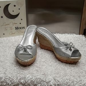 Guess Silver Glitter Fabric w/ Cork/rope Wedges